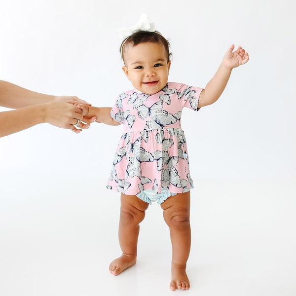 Baby on Beatrice Short Sleeve Peplum Ruffled Bummie Set with butterfly pattern