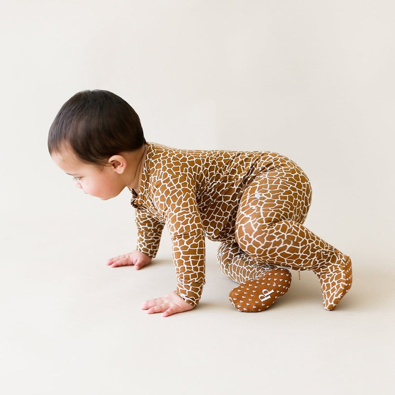 Crawling baby on Billy Footie Zippered One Piece