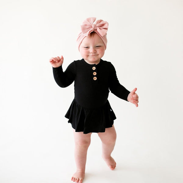 Baby on Black Ribbed Long Sleeve Henley Twirl Skirt Bodysuit