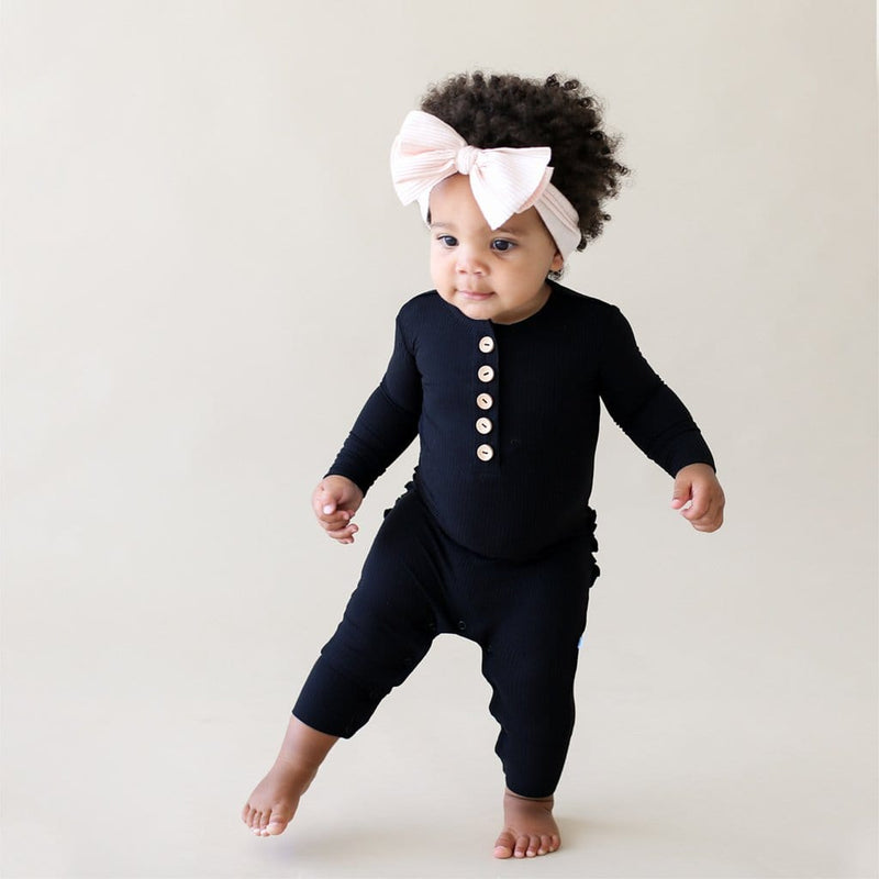 Baby on Black Ribbed Long Sleeve Ruffled Henley Romper