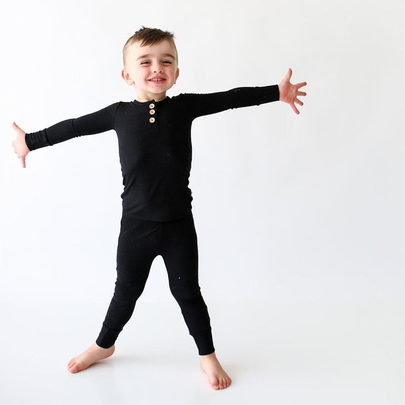 Toddler on Black Ribbed Long Sleeve Henley Pajamas
