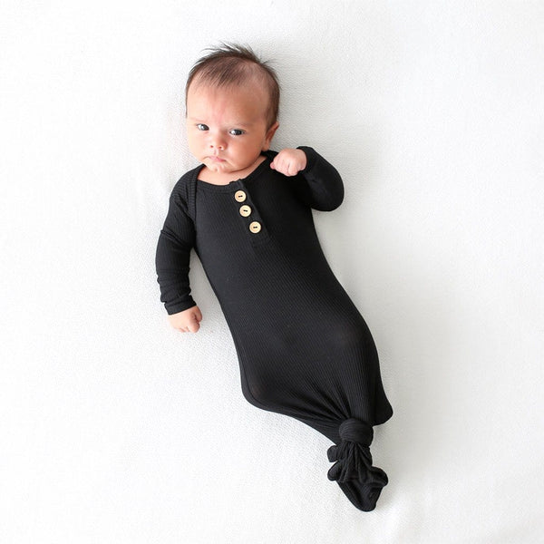 Baby on Black Ribbed Button Knotted Gown