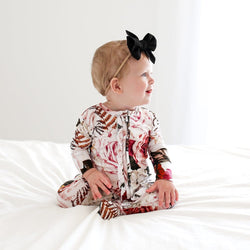 Black Rose Footie Ruffled Zippered One Piece