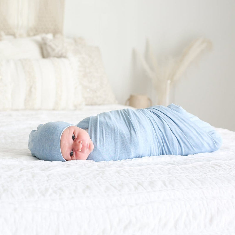Blue Heather Swaddle Beanie Set