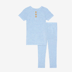 Blue Heather Short Sleeve Henley Pajamas