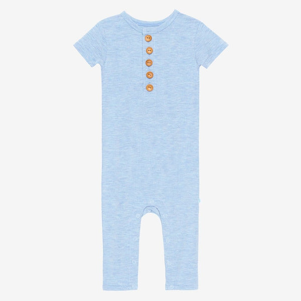 Blue Heather Short Sleeve Henley Romper