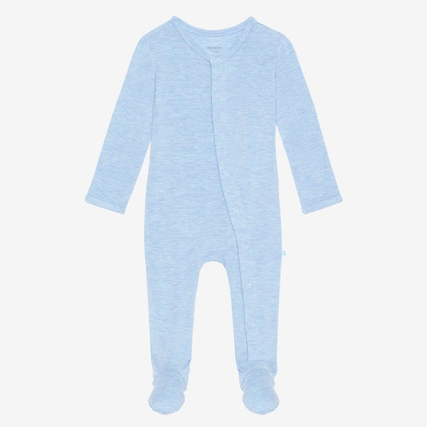 Blue Heather Footie Snap One Piece