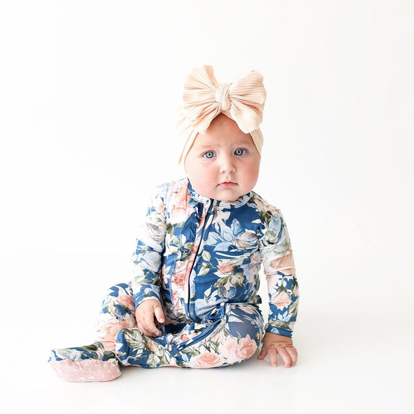 Blue Rose Footie Ruffled Zippered One Piece