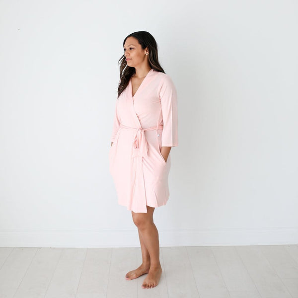 Mommy wearing blush robe