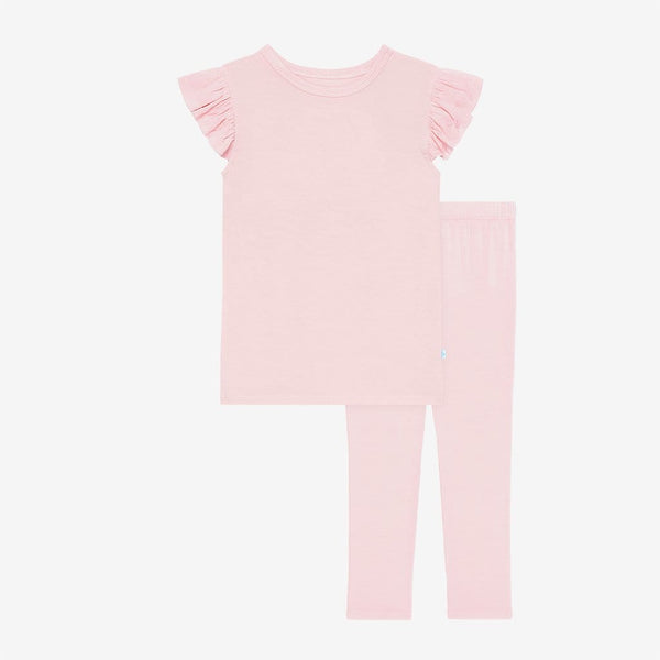 Blush ruffled cap sleeve top and pants pajamas