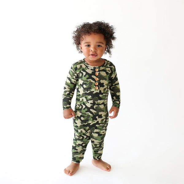 Toddler on Cadet Long Sleeve Henley Romper