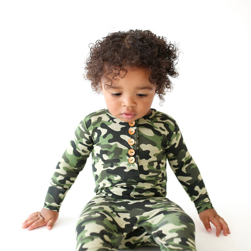 Baby on Cadet Long Sleeve Henley Romper close up