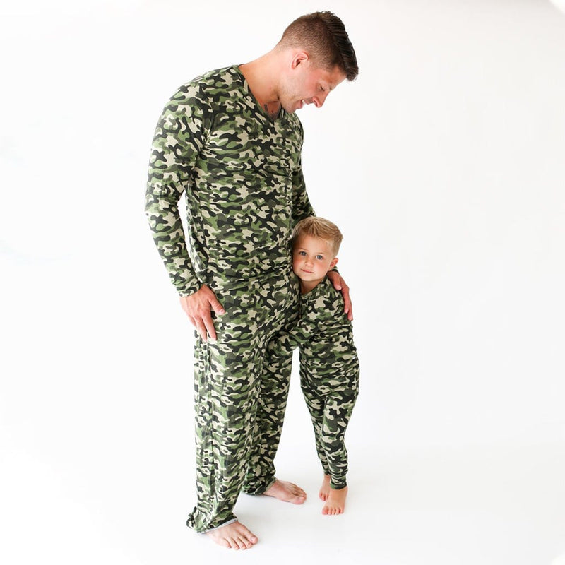 Son and Dad wearing Cadet Long Sleeve Henley Pajamas