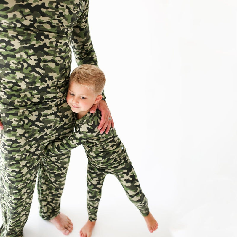 Toddler with his Dad on Cadet Long Sleeve Henley Pajamas