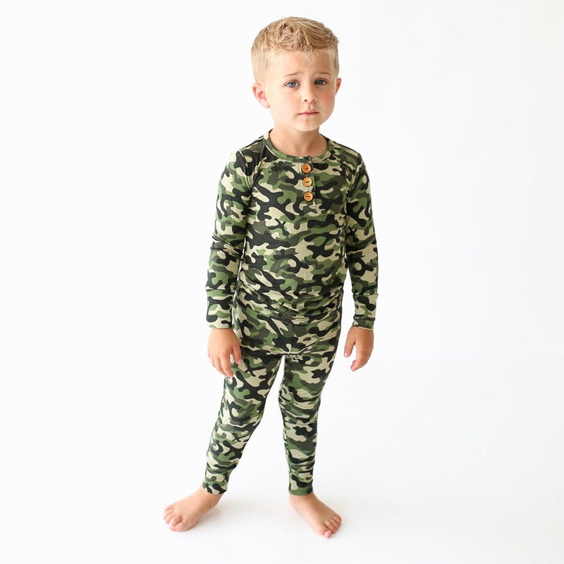 Toddler on Cadet Long Sleeve Henley Pajamas
