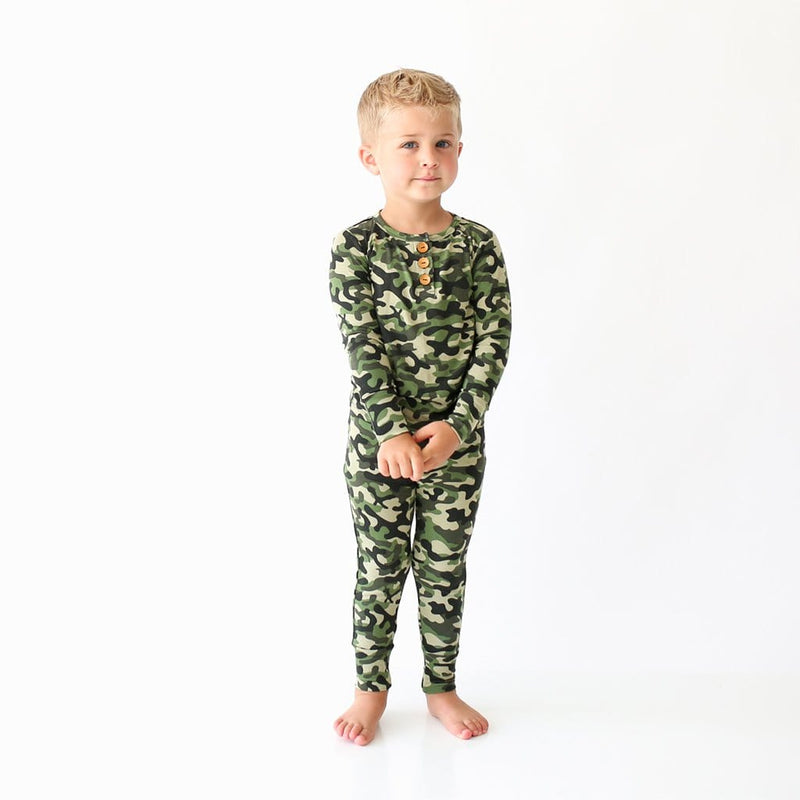 Toddler wearing Cadet Long Sleeve Henley Pajamas