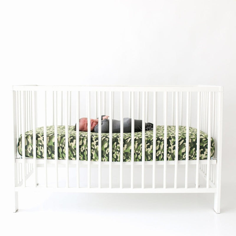 Cadet Crib Sheet on white crib