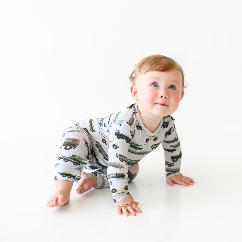Crawling baby on Cash Long Sleeve Romper