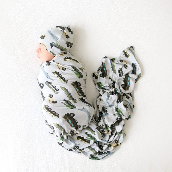 Baby on Cash Swaddle Beanie Set