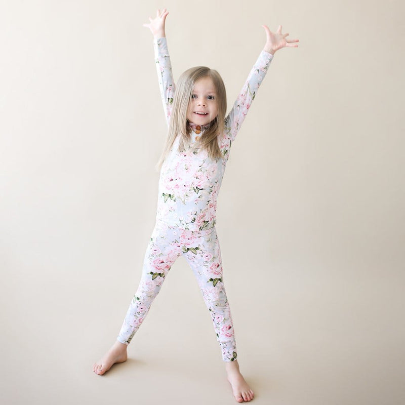 Toddler playing on Celine long sleeve henley pajamas