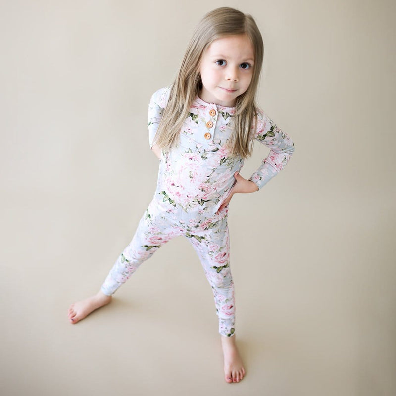 Toddler on Celine long sleeve henley pajamas