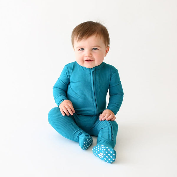 Baby on Cerulean ribbed footie zippered one piece