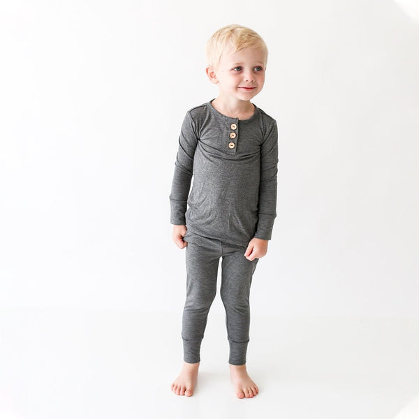 Charcoal Heather Long Sleeve Henley Pajamas