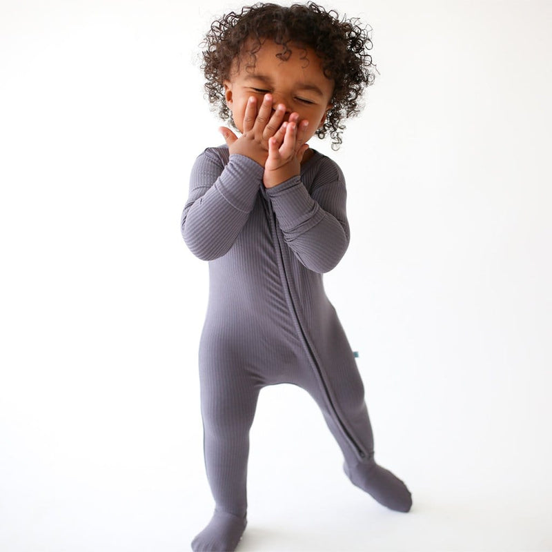 Charcoal Ribbed Footie Zippered One Piece