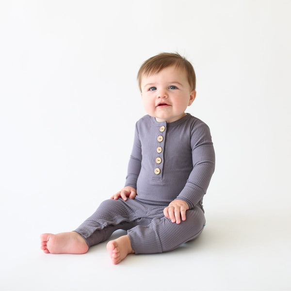 Baby wearing Charcoal Ribbed Long Sleeve Henley Romper