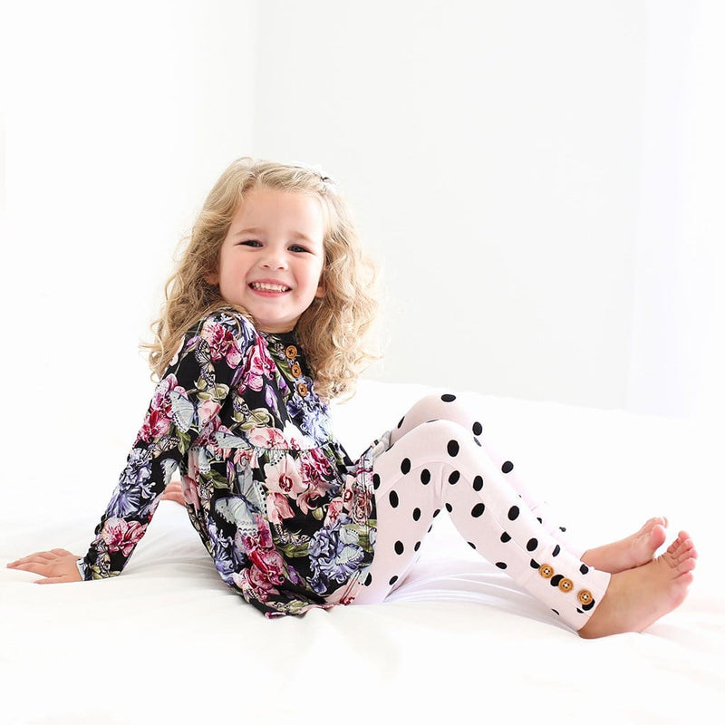 Sitting toddler on Chelsea Long Sleeve Henley Peplum Leggings Set