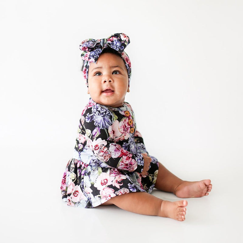 Baby on Chelsea Long Sleeve Henley Twirl Skirt Bodysuit