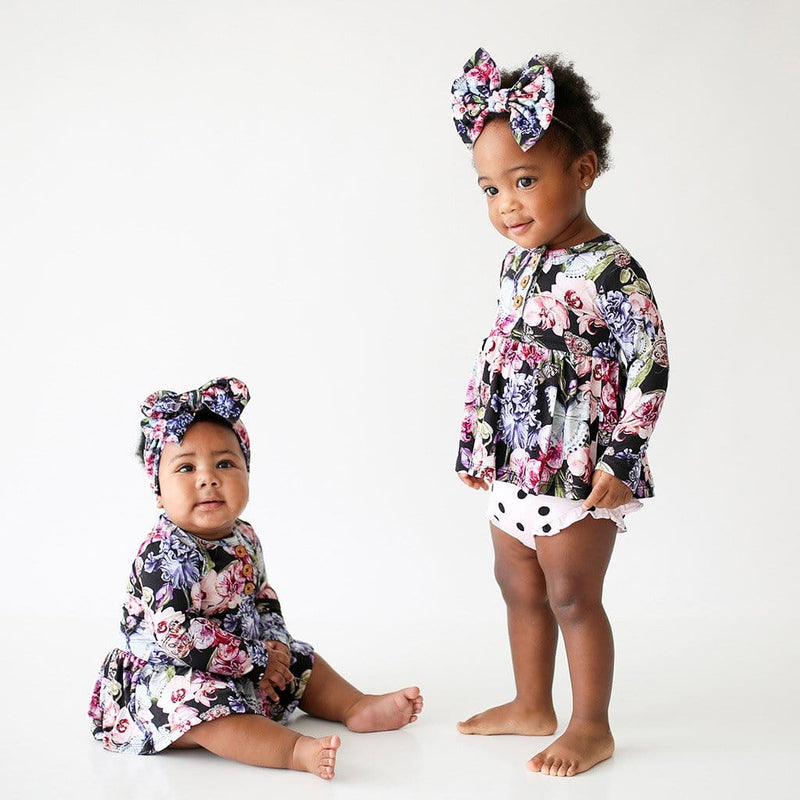 Sisters wearing Chelsea Long Sleeve Henley Twirl Skirt Bodysuit