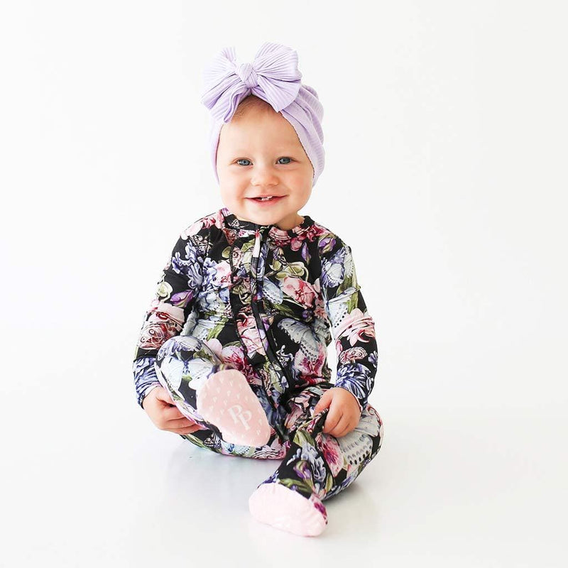 Cute baby on Chelsea Footie Ruffled Zippered One Piece