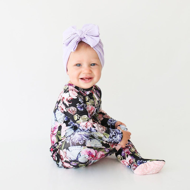 Chelsea Footie Ruffled Zippered One Piece on baby