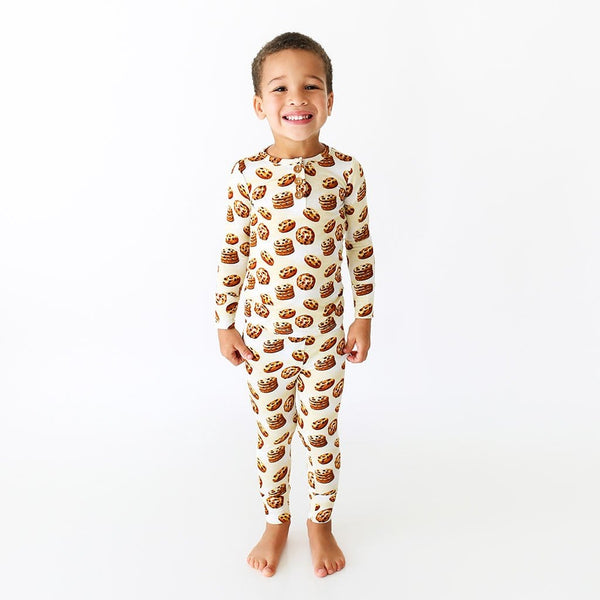 Toddler wearing Chip Long Sleeve Henley Pajamas with cookie pattern