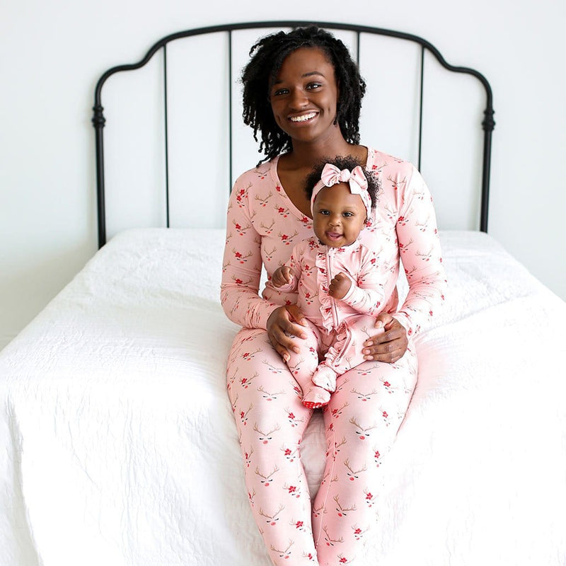Mommy sitting on bed wearing Clarice Women's Long Sleeve Loungewear