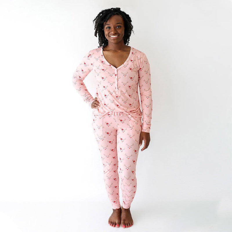 Mommy wearing Clarice Women's Long Sleeve Loungewear with Reindeer Print