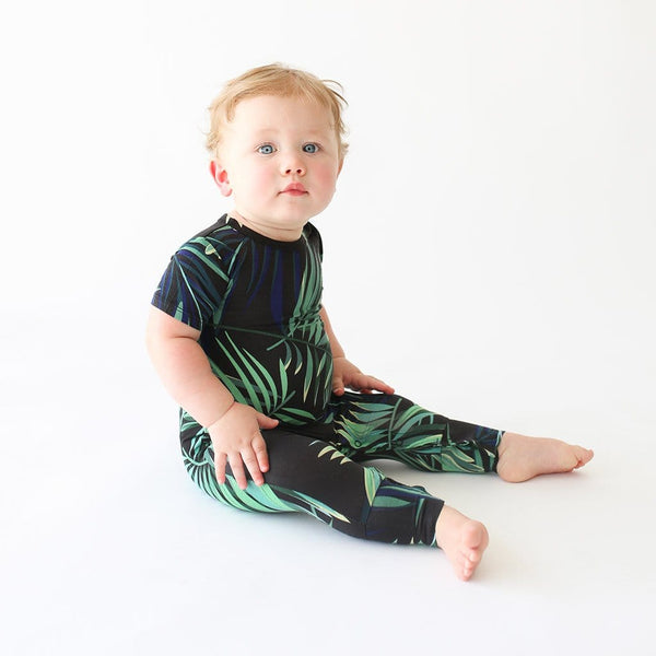 Baby on Cooper Short Sleeve Romper with leaf design