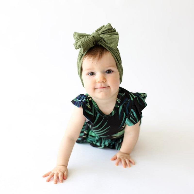 Leaf design Cooper Ruffled Cap Sleeve Twirl Skirt Bodysuit