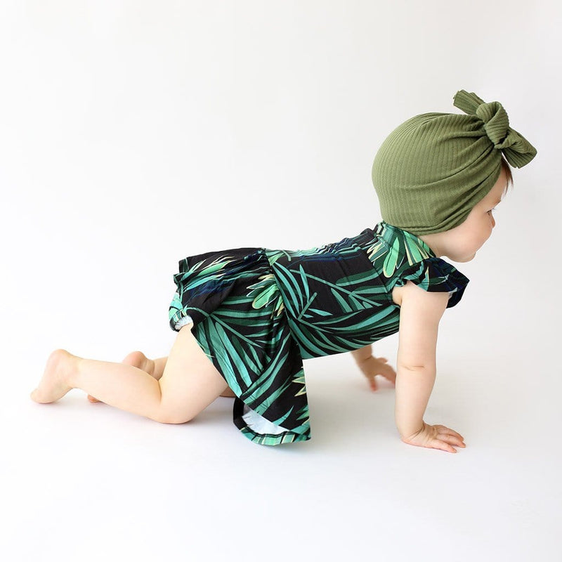 Crawling baby wearing Leaf design Cooper Ruffled Cap Sleeve Twirl Skirt Bodysuit