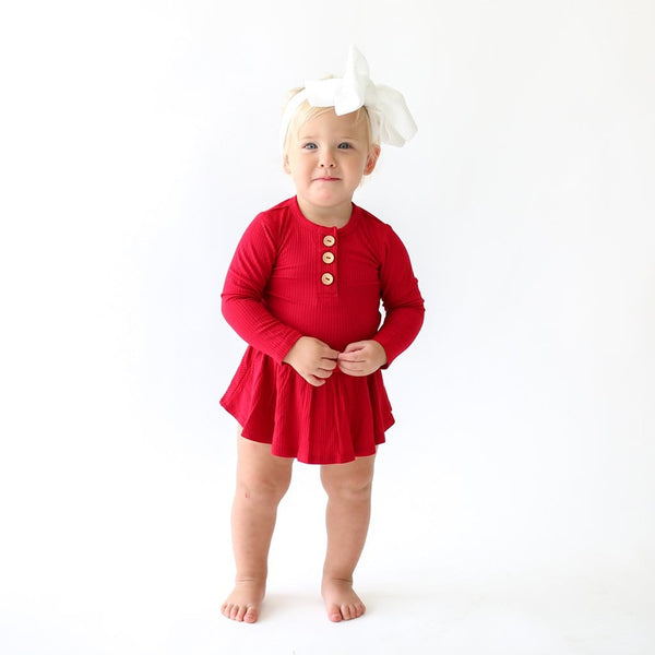 Baby wearing Crimson Ribbed Long Sleeve Henley Twirl Skirt Bodysuit