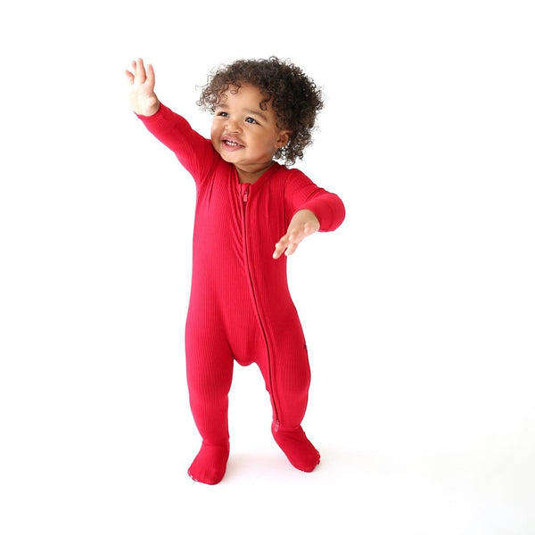 Baby walking wearing Crimson Ribbed Footie Zippered One Piece