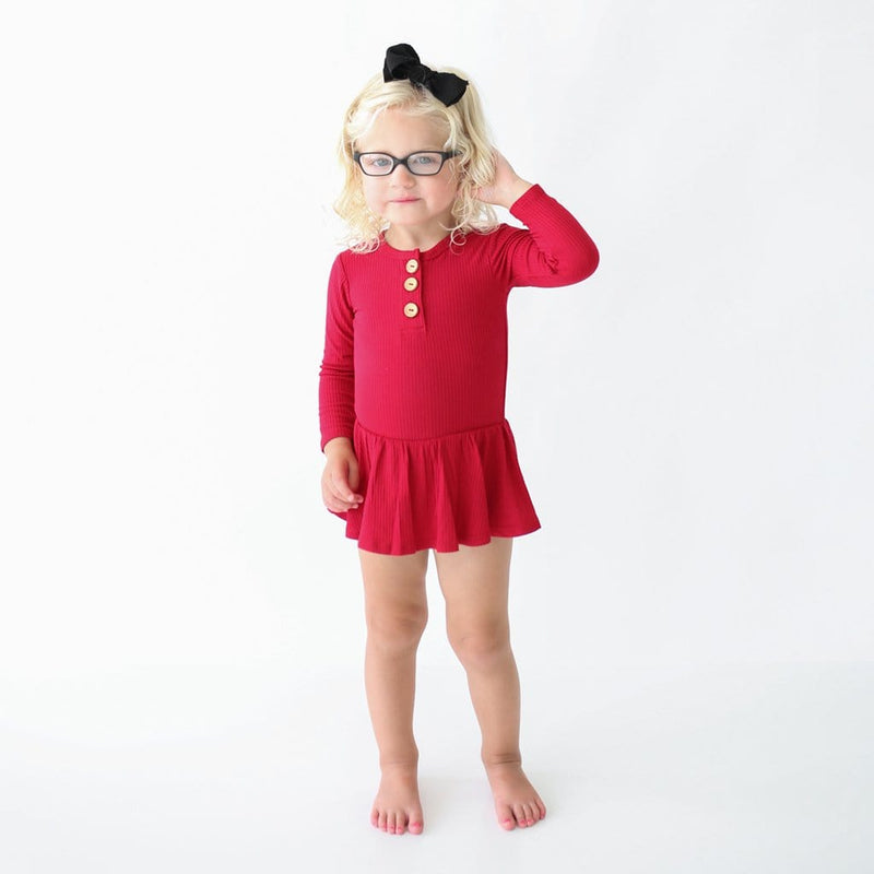 Baby wearing glasses on Crimson Ribbed Long Sleeve Henley Twirl Skirt Bodysuit
