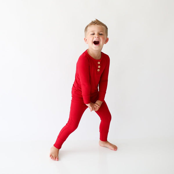 Toddler wearing Crimson Ribbed Long Sleeve Henley Pajamas