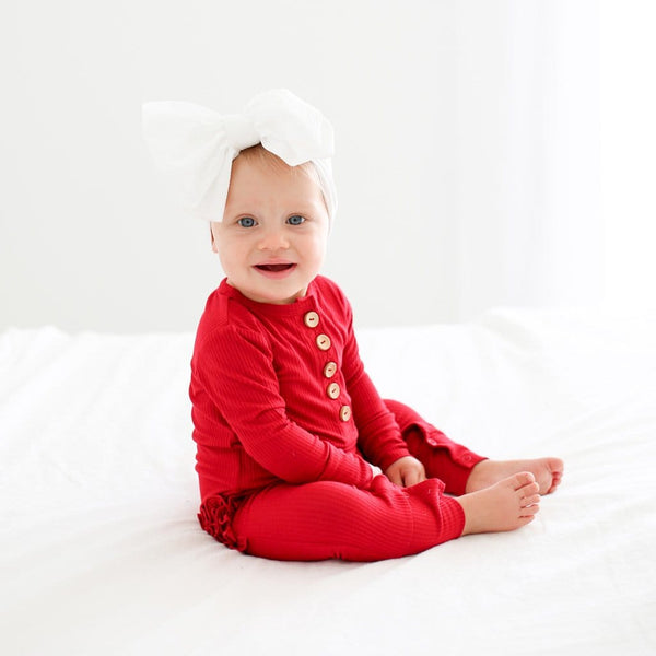 Baby wearing Crimson Ribbed Long Sleeve Ruffled Henley Romper