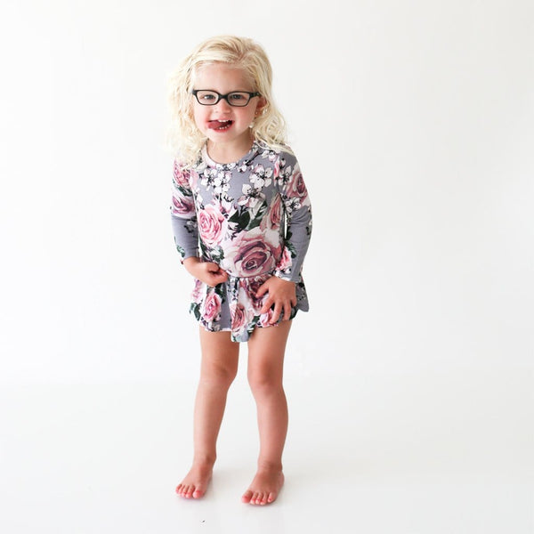 Girl toddler wearing Daphne Long Sleeve Twirl Skirt Bodysuit