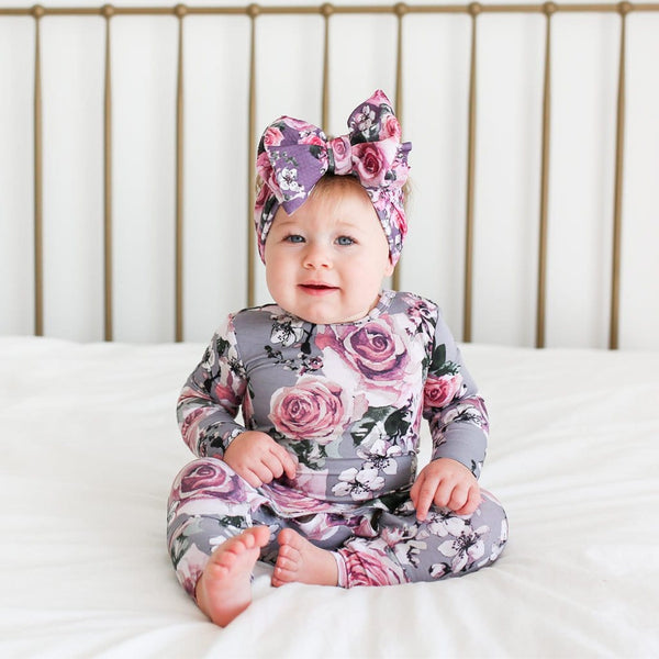 Baby wearing Daphne Long Sleeve Ruffled Romper