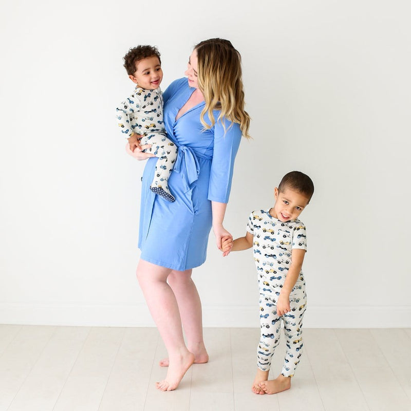 Mommy with toddler and baby wearing Enzo designs