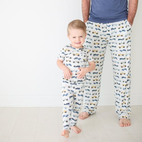 Toddler with daddy wearing Enzo pajamas set