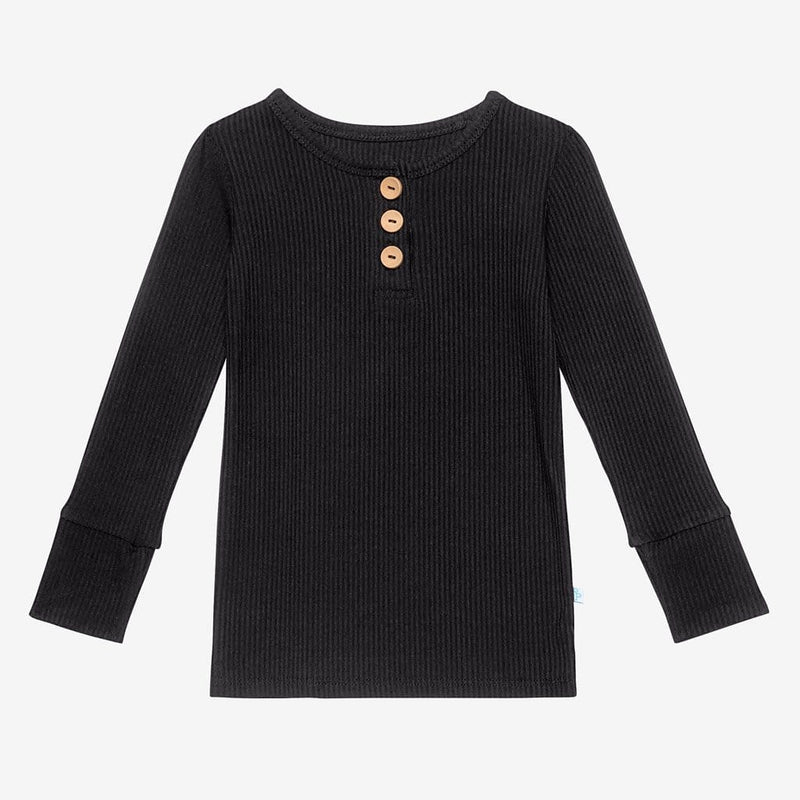 Black Ribbed Long Sleeve Henley Tops